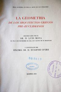 Luis Moya Blanco - La geometría de los arquitectos griegos pre-euclidianos portada